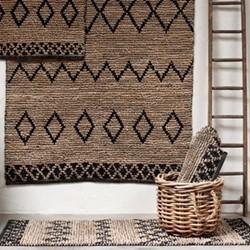 Ambara Runner jute rug, 177 x 66cm, black & natural