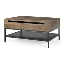Lomond Coffee table with storage, H45 x W90 x D65cm, mango wood/black