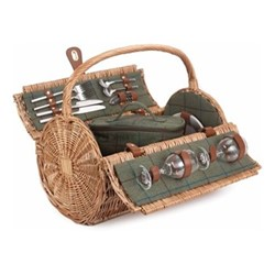 Green Tweed Picnic hamper 2 person, H42 xW30 x L46cm, willow