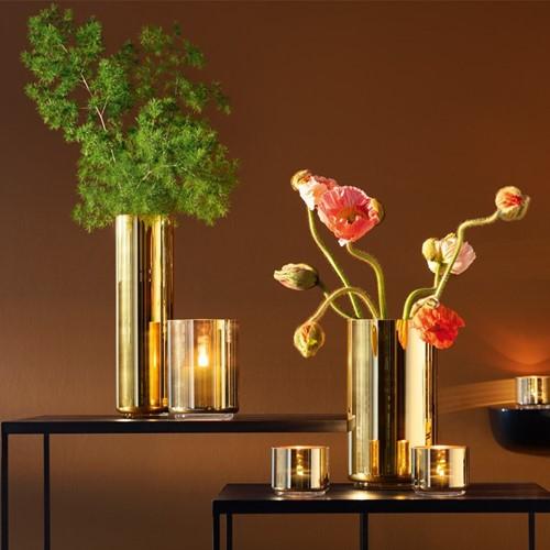 Karat Vase, H16.5 x D12cm, gold