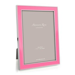 "Enamel Range Photograph frame, 5 x 7"" with 15mm border, pink with silver plate"