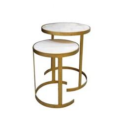 Zeta Nest of 2 tables, Small - H38 x D30.5cm : Large - H45 x D37.5cm, iron/marble