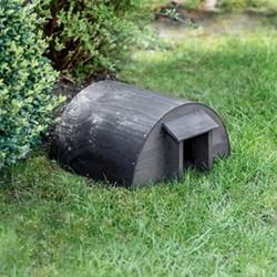 Hedgehog house, 20 x 40 x 33cm, blackened natural wood