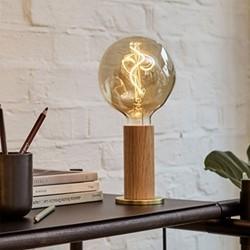 Knuckle Pendant Table lamp with voronoi bulb, H30 x D13cm, Oak & Brass