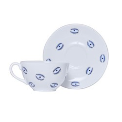 Eye Teacup and saucer, 150ml, white and blue