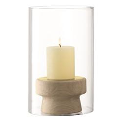 Mistral Oak candleholder & glass shade, H25.5cm