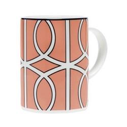 Loop Mug, 10.2 x 7.6cm, coral/white