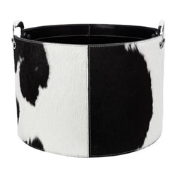 Cowhide Storage basket, H27 x W40 x L40cm, black and white
