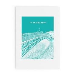 Dublin Landmark Collection - Ha'Penny Bridge Framed print, A3 size, green/white