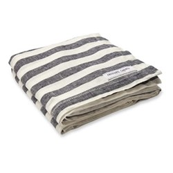 Stripe Linen beach towel, midnight blue and white