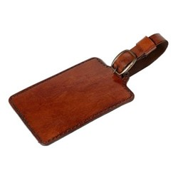 Plain luggage tag, 15.5 x 7.5cm, conker leather