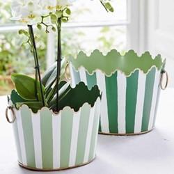 Cirque Set of 2 planters, green