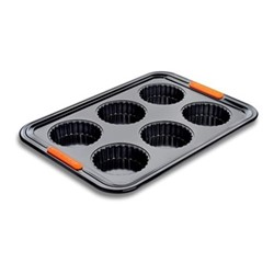 Bakeware 6 cup tart tray, 33 x 23cm, black