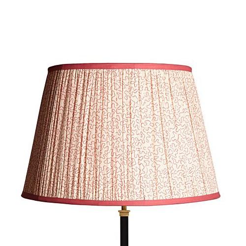 Straight Empire Block printed lampshade, 45cm, coral squigglescotton