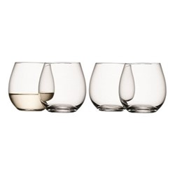 Wine Set of 4 stemless wine glasses, 370ml, clear