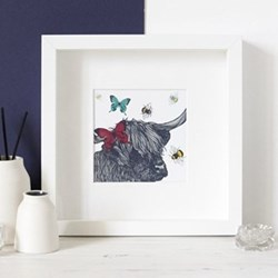 Cow With Bees & Butterflies Mounted print, 25.5 x 25.5cm, white frame