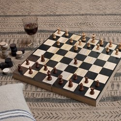 Mango Wood chess & draughts, 7 x 20 x 40cm, mango wood