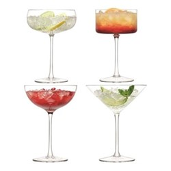 Lulu Set of 4 assorted Champagne/cocktail glasses, 280ml, clear