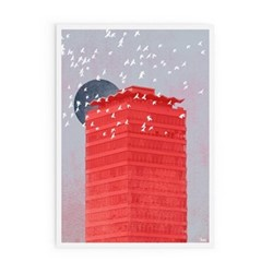Concrete Moon Collection - Liberty Moon Framed print, A3 size, red/grey