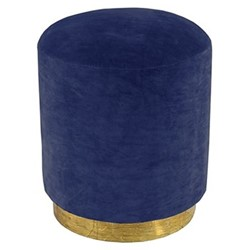 Small footstool, H45 x D40cm, marine blue velvet with brass base