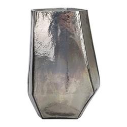 Irregular Glass Hurricane lamp, silver