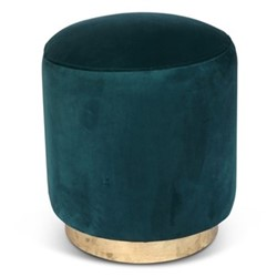 Small footstool, H45 x D40cm, jade green velvet with brass base