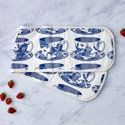 Teacup Oven glove, 20 x 84cm, white/delft blue