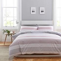 Newquay Stripe Double duvet set, 200 x 200cm, pink