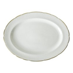 Darley Abbey Pure Gold Large oval dish, 41 x 31cm, white/gold