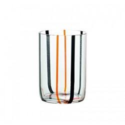 Tirache Set of 6 tumblers, 35cl, black and orange stripes
