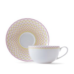 Ripple Cappuccino cup and saucer, pink/yellow