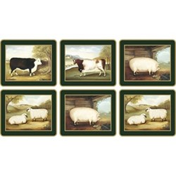 Traditional Range - Naive Animals Set of 6 coasters, 11 x 9cm, bottle green