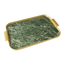 Ribbed serving tray, L46 x W30cm, green marble