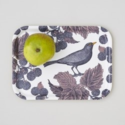 Blackbird & Bramble Small tray, 27 x 20cm, birch veneer/purple/pink