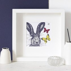 Hare With Bees & Butterflies Mounted print, 25.5 x 25.5cm, white frame