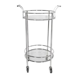 Round mirror drinks trolley, H91.5 x W56 x D46cm, silver