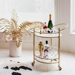 Round drinks trolley, H68 x W58 x D46cm, Gold