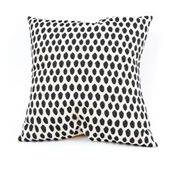 Elca Cushion, 60cm, black on linen