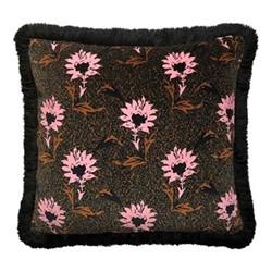 Flora Fringe cushion, W50 x L50cm, pink / multi