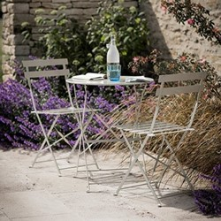 Rive Droite Garden table and 2 chair set, table H71 x D58cm; chair H78 x W50 x D42cm, clay coloured coated steel