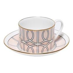 Loop Teacup and saucer, H8.4cm - Saucer 15cm, blush/white (gold rim)