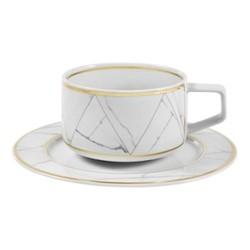 Carrara Teacup and saucer, H6cm, black/white