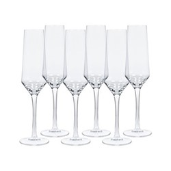Hoxton Set of 6 champagne glasses, H25.5 x W7cm, clear