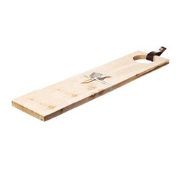 Long sycamore serving board with leather tab, L65 x W15 x H2cm, sycamore