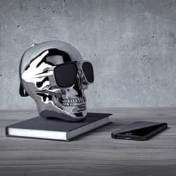 AeroSkull XS+ Bluetooth speaker, H13.3 x W10 x D13.2cm, chrome silver
