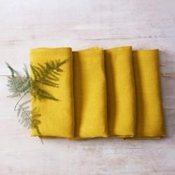 Alma Set of 4 linen napkins, 42 x 42cm, mustard