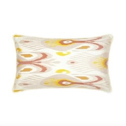 Ikat Cushion, 60 x 40cm, Grey/Mustard Yellow