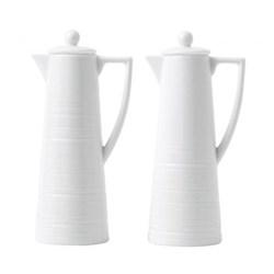 Strata Oil and vinegar set, H15.8 x W5.6 x D7.5cm, white