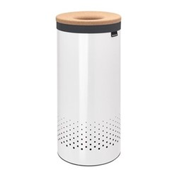 Laundry bin, 35 litre, white body, with cork lid