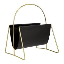 Leather magazine basket, H45.5 x W43 x D12.5cm, gold/black